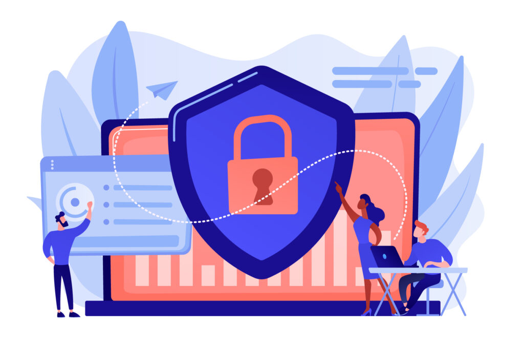 abstract image of workers interacting with a padlock and other cybersecurity symbols