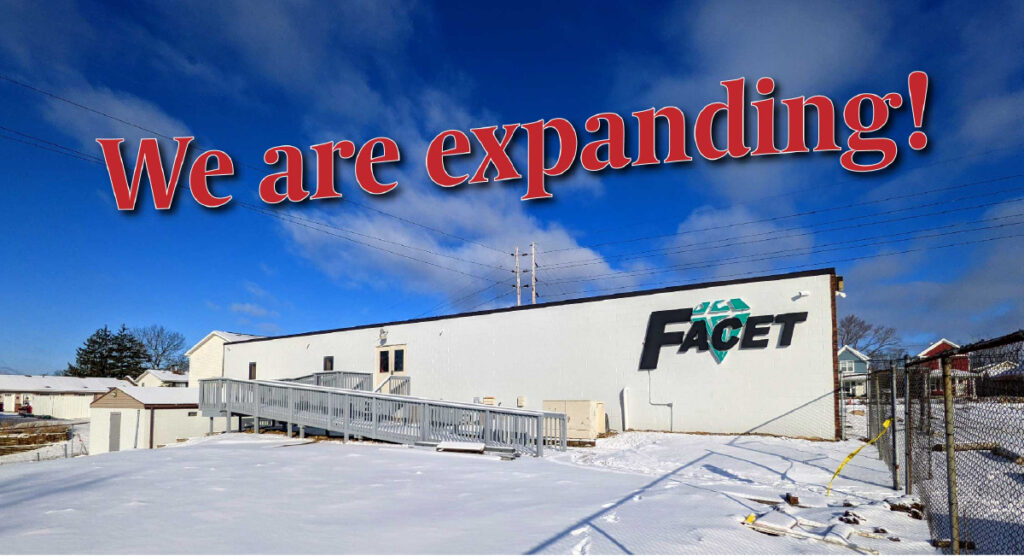 "Image of back side of building with sign that reads ""Facet."" Text over image reads: ""we are expanding."""